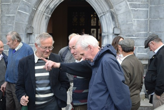 Photo:Mr. Aidan Sheeran, Mr. Walley Loughery and Mr. Patsy Murphy catching up on Ballinrobe's past