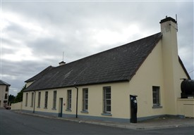 Photo:Boys' secondary school with roof from old RC Chapel on Castlebar Road