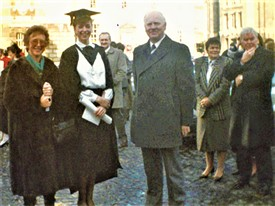 Photo:On occasion of Joanne May's graduation at Trinity College L to R Geraldine, Joanne & Des May