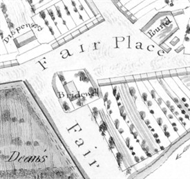 Photo:Detail from 1833 map with the Bridewell complex indicated