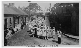 Photo:Corpus Christi Procession, Ballinrobe 1927 coming from Main Street towards Cornmarket at corner of Bowgate Street