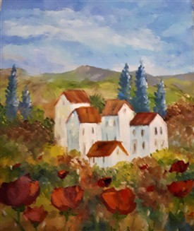 Photo:A painting of a house in the countryside by Kay Tracey