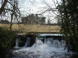 Photo:The ruin of Cranmore House with the Bulkaun waterfall in foreground