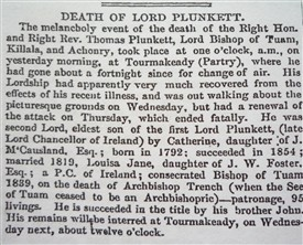 Photo:Lord Plunketts' death notice - he was involved with many evictions of the Tourmakeady community.