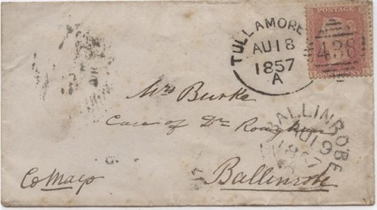 Photo: Illustrative image for the '1857 Envelope addressed to Mrs. Burke, c/o of Doctor in Ballinrobe' page