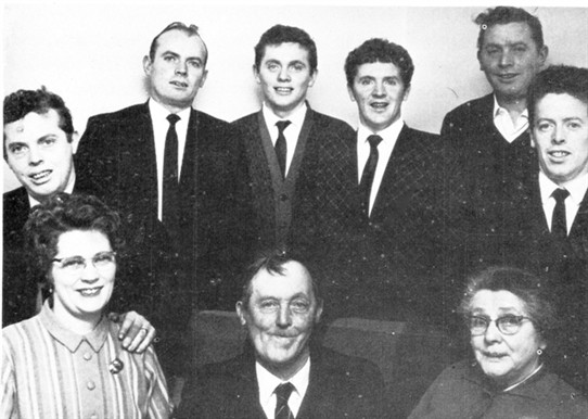 Photo:Front L to R: Neillie (Keady), John Snr. Mary Snr. Back - Andy, Tom, Machael, Willie, Paddy and Mattie