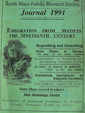 Photo:Cover 1991 of South Mayo Family Research Society, Ballinrobe, County Mayo, Ireland