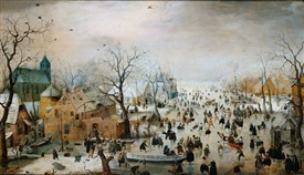 Photo:One of Bruegal's Dutch iceskating scenes with lots of activity on the ice.