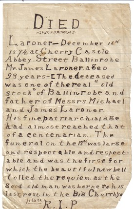 Photo:Hand written copy of death notice for Mr. James Lardner, Cherry Castle, Abbey St. Ballinrobe.