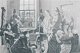 Photo:Before the magistrates at Cong, ten men were accused of the Maamtrasna murders
