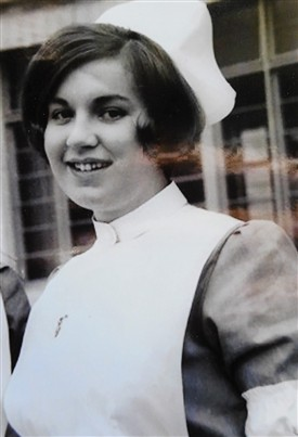 Photo:Maura outside what is now University College Hospital, Galway