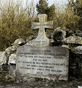 Photo:Burial site of cremated remains of George Moore on Castle Island, Lough Carra
