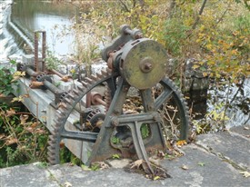 Photo:Remains of old machinery for lifting the lock or gates at the weir.