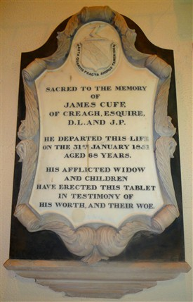 Photo:Wall plaque commemorating James Cuff of Creagh died 1851