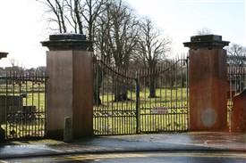 Photo:Entrance Gate to Cranmore House with pillars boxed in for safety