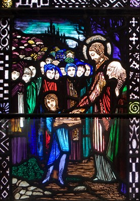 Photo:The Miracle of the Loves & Fish by Harry Clarke at St. Mary's Church, Ballinrobe, County Mayo, Ireland