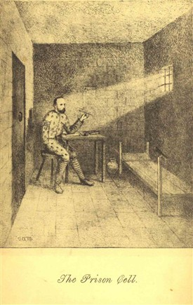 "Photo:A sketch of Michael Davitt in his prison cell taken from ""Leaves from a Prison Diary: Lectures to a Solitary Audience"" Vol 1.   Davitt learned from adversity while in prison.  He came to the conclusion, as he records in his diary, that violence was self defeating.   He decided that membership of an underground, armed conspiracy merely invited the counter-productive attention of State Agents who infiltrated it and recruited informers."