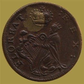 Photo:The early farthing coin displays an image commonly described as the biblical King David playing a harp.   The legends are: FLOREAT REX - May the king flourish