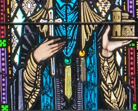 Photo:Representation of the monastery St. Brigid founded by Harry Clarke, St. Mary's Church, Ballinrobe, County Mayo