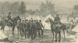 Photo:Land agitation in Ireland.  Constabulary and line encampment in the grounds of Lough Mask House.  Notice Lough Mask Castle in background