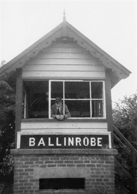Photo:Mr. Joe Byrne at the signal box of Ballinrobe Station