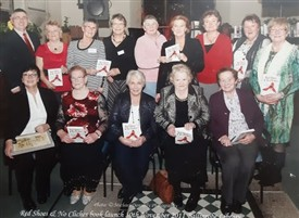Photo:Ballinrobe Writers Group at the launch of their book Red Shoes & No Clichés in November 2011 L to R back: John Corless, Maura Lydon, Mary Boyle, Fin O'Neill, Breda Dallaghan, Imelda Hughes, Margaret Tywbill, Josie Mercer & Clare O'Malley Senator Marie Louise O'Donnell, Mary Walsh, Sadie Sommerville, Ina Horan & Noreen Brown