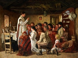 Photo:'Mass in a Connemara Cabin  by Aloysius O'Kelly