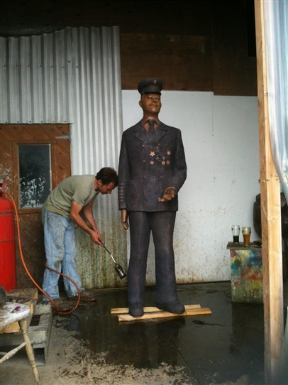Photo:Final stage of the cast bronze sculpture of John King